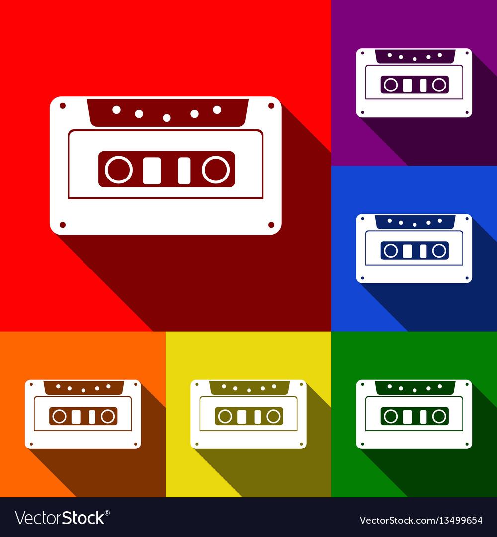 Cassette icon audio tape sign set of