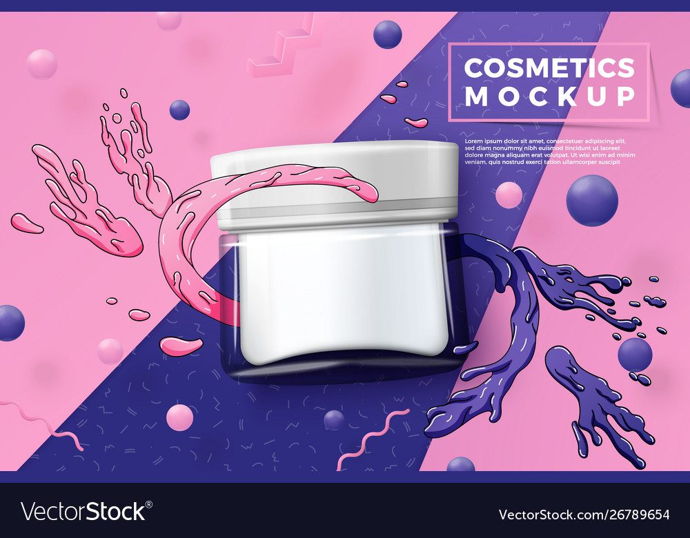 Cosmetic glass jar on paper background