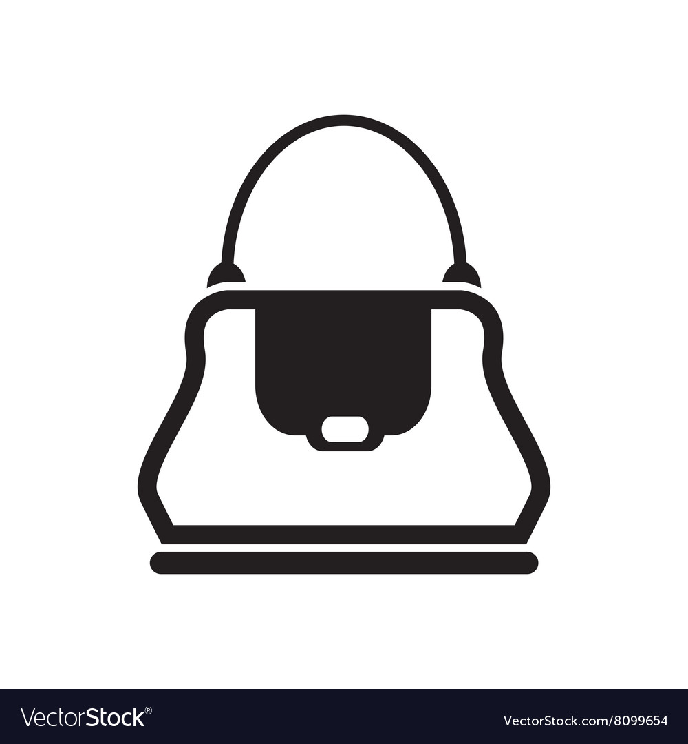 Flat icon in black and white ladies handbag vector image