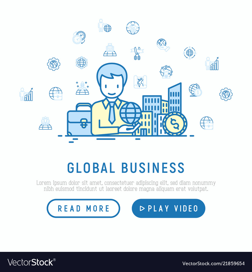 Global business concept man with planet in hand