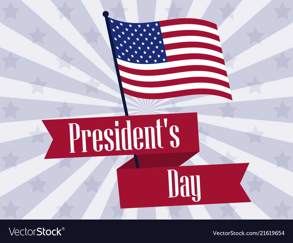 Happy presidents day retro banner with american