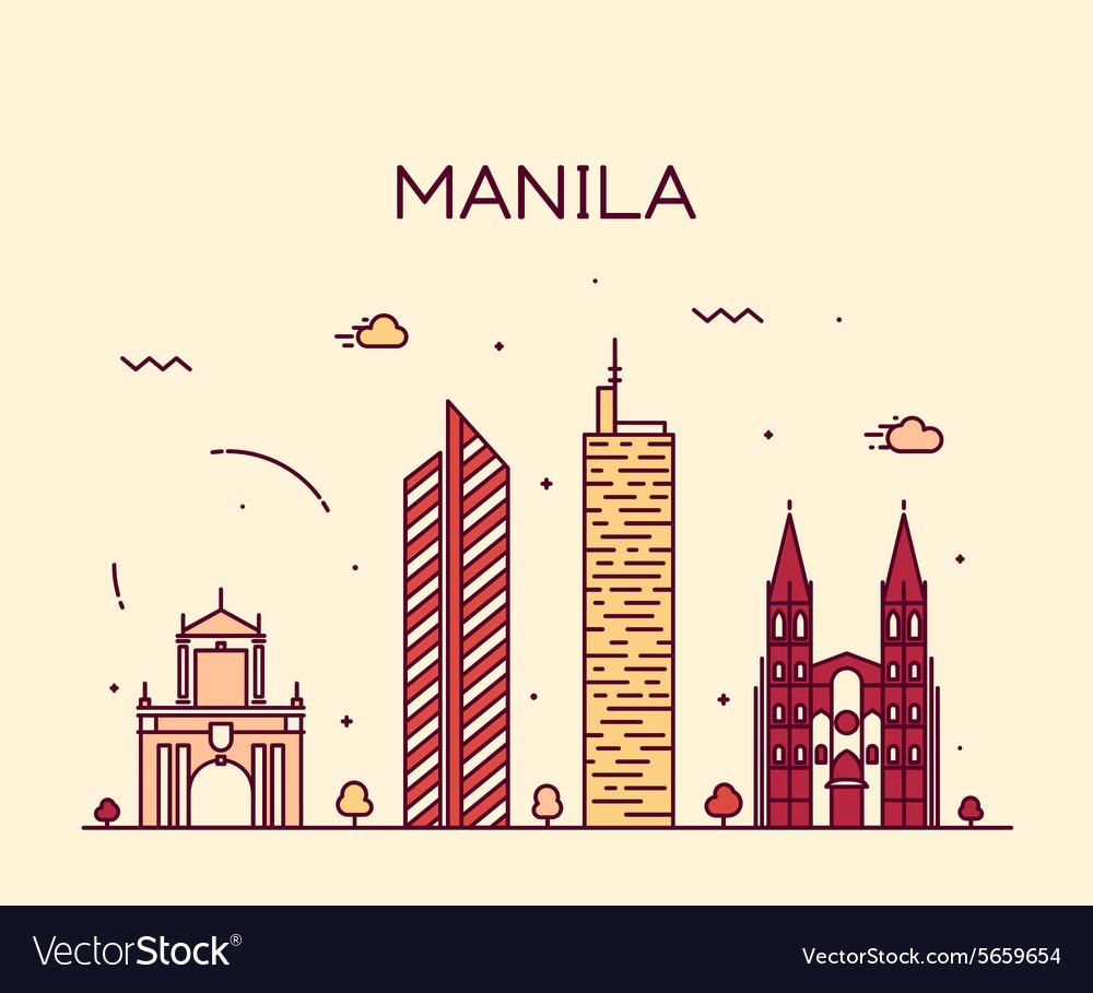 Manila skyline trendy linear