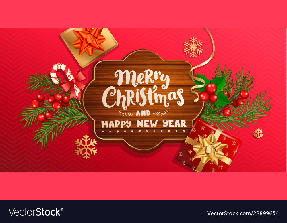 merry christmas and new year wishing banner vector image vectorstock