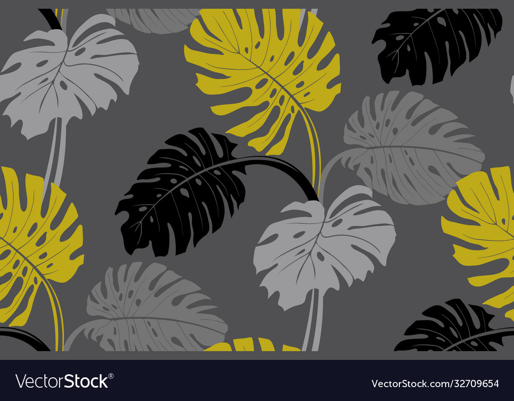 Modern tropical pattern with monstera bushes in