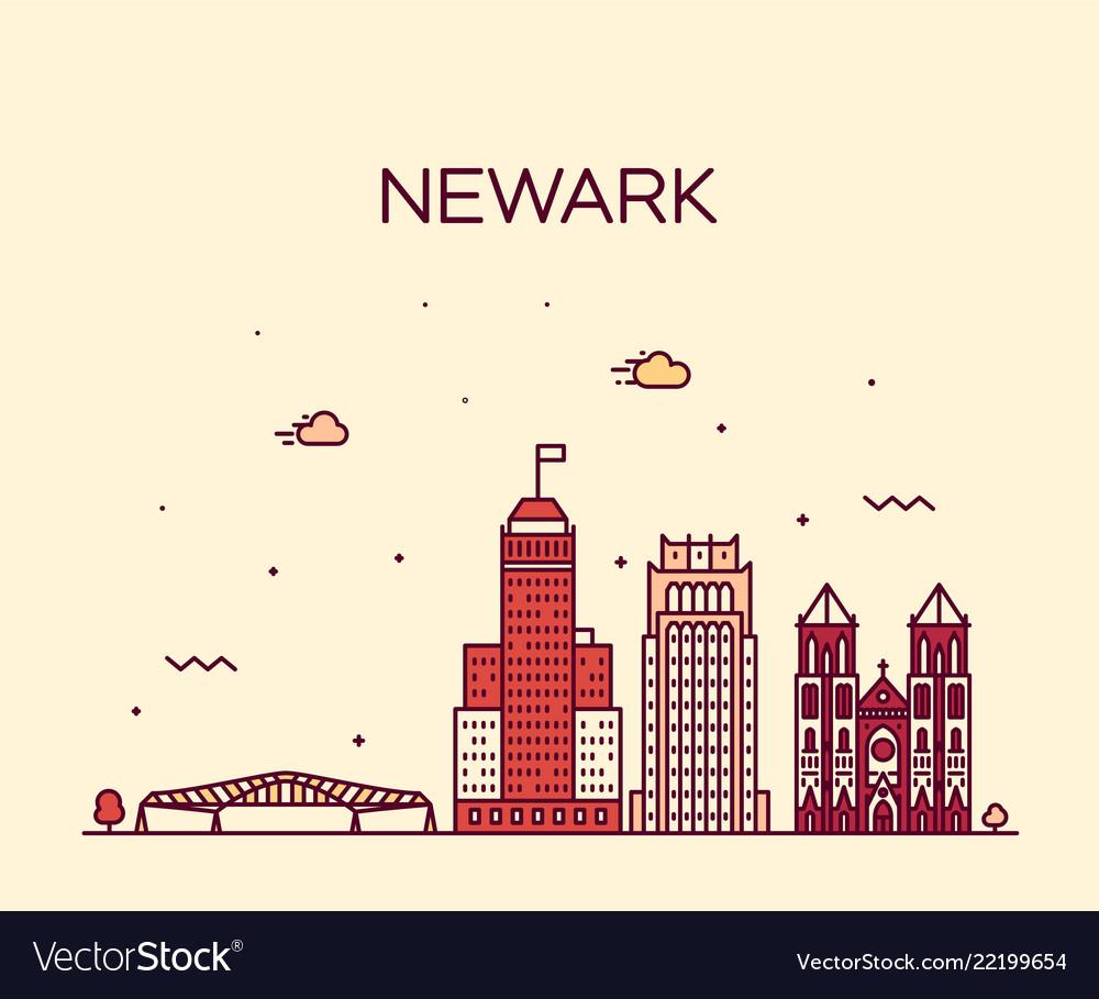 Newark skyline new jersey usa linear style