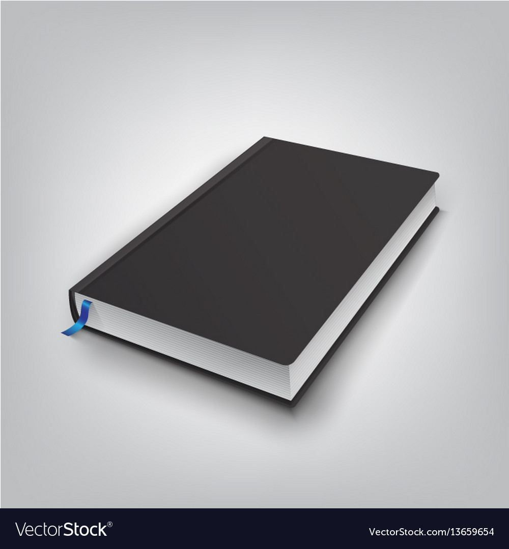 Realistic book with black cover mock up of books
