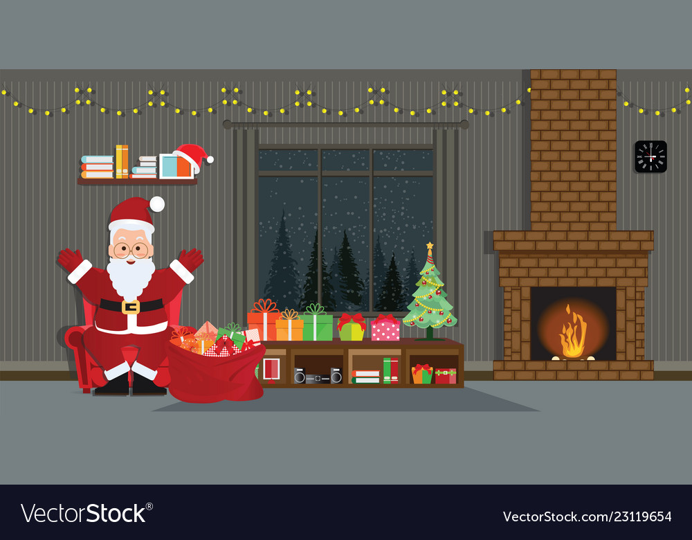 Santa claus with christmas tree and gift boxes in