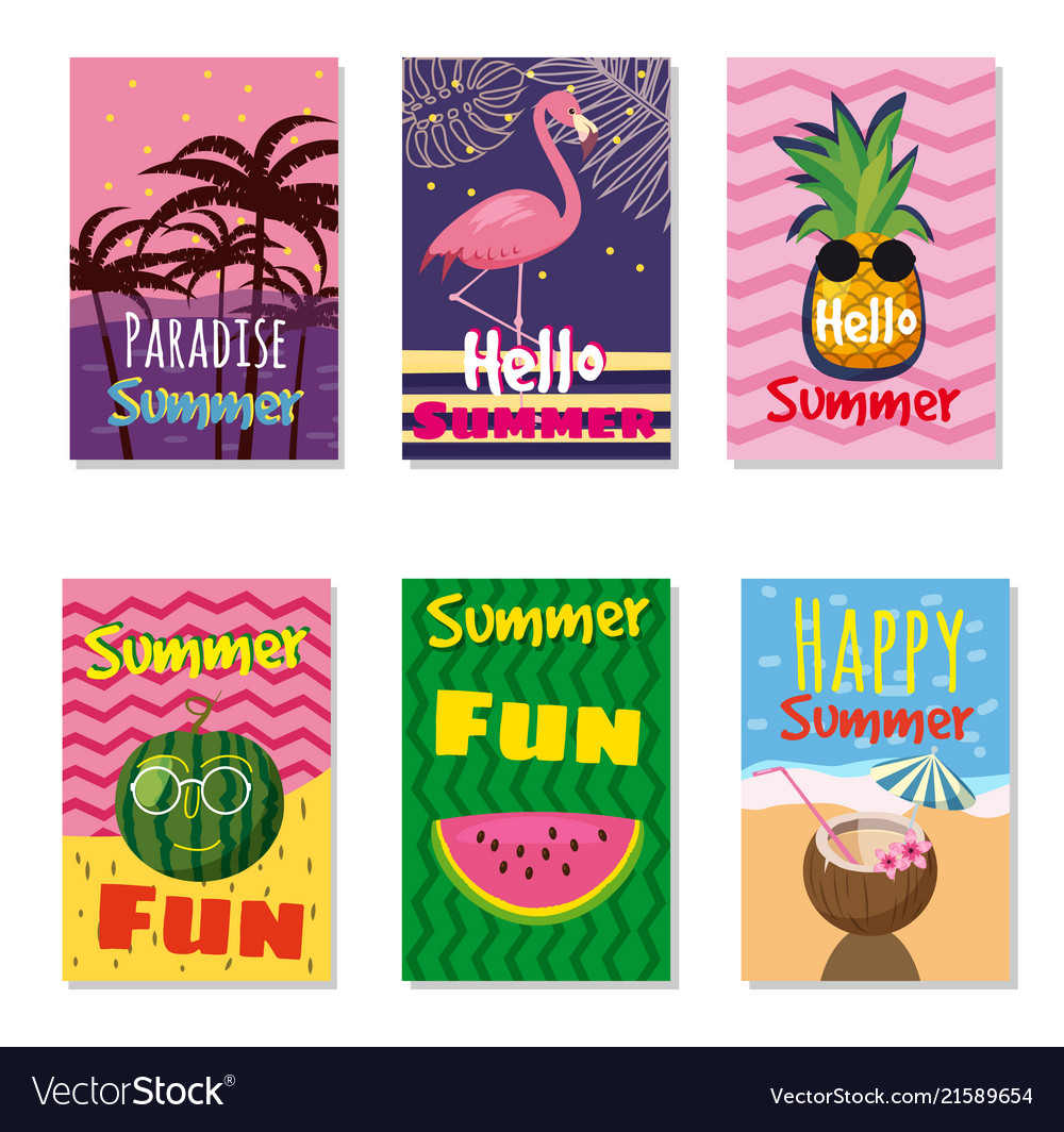 Set of bright summer cards beautiful