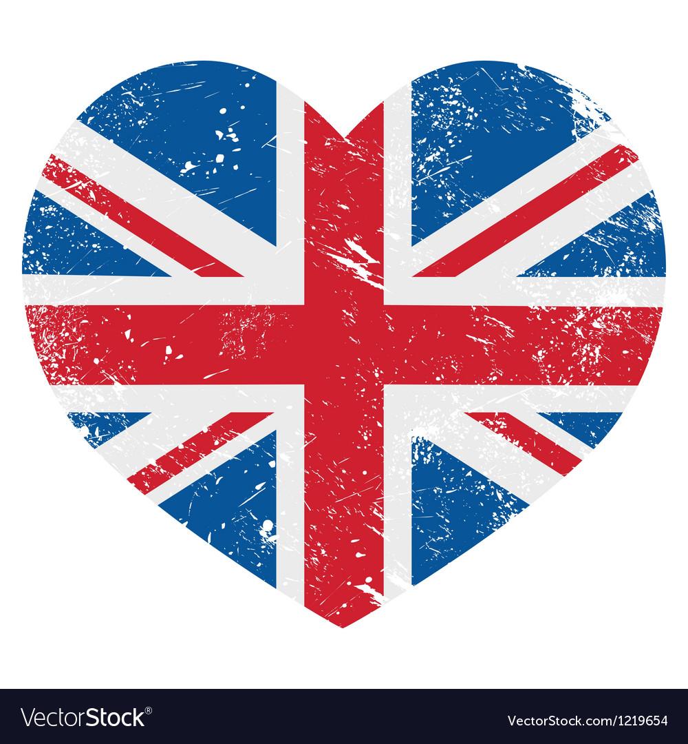 UK Great Britain retro heart flag vector image