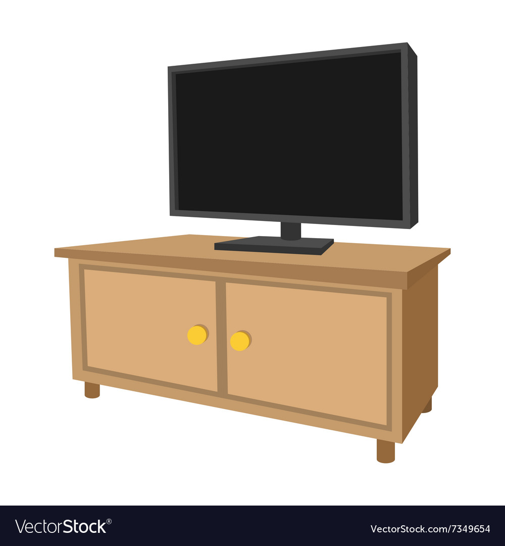 Pleasant Wooden Tv Cabinet With A Large Tv Cartoon Icon Creativecarmelina Interior Chair Design Creativecarmelinacom