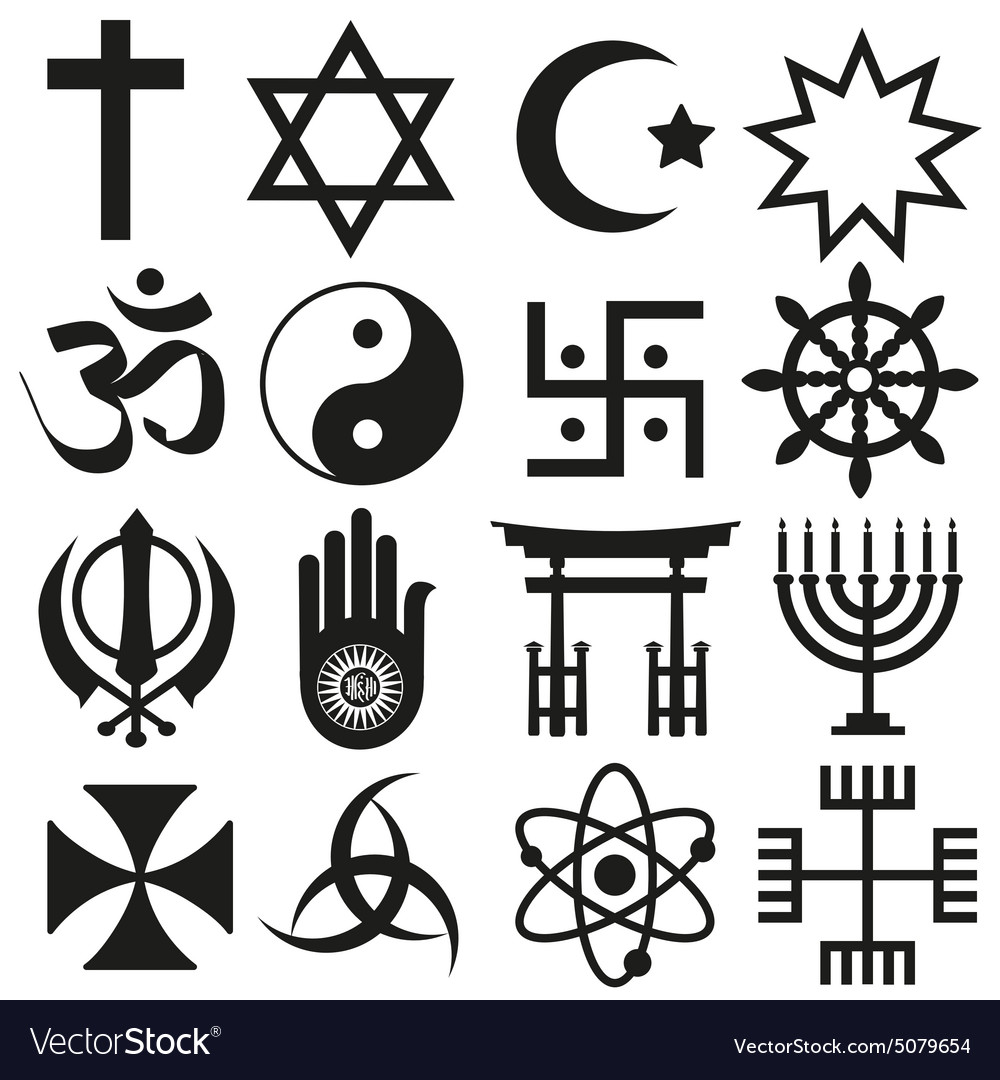 World Religions Symbols Set Of Icons Eps10 Vector Image