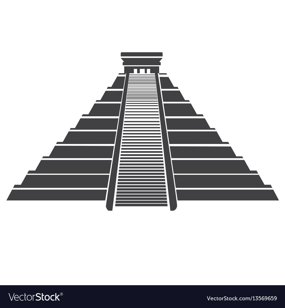 Aztec pyramid icon isolated on whit mayan