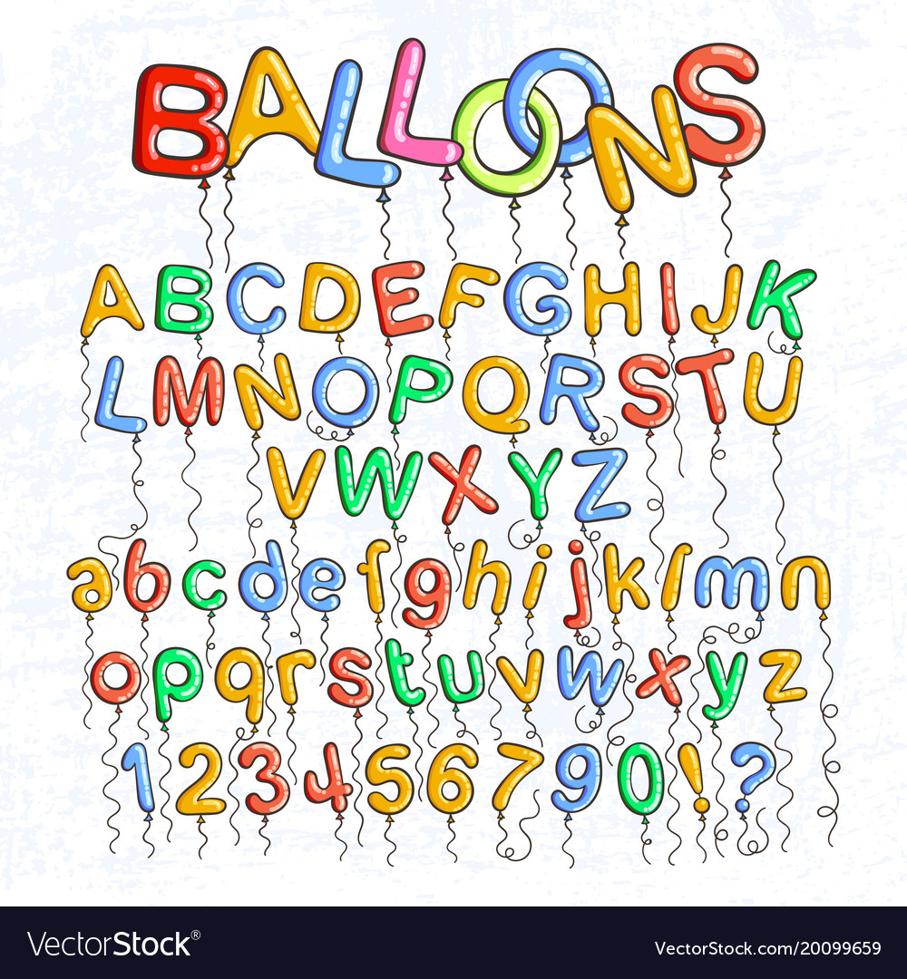 Cartoon Bubble Font Letters With Glint Vector Image