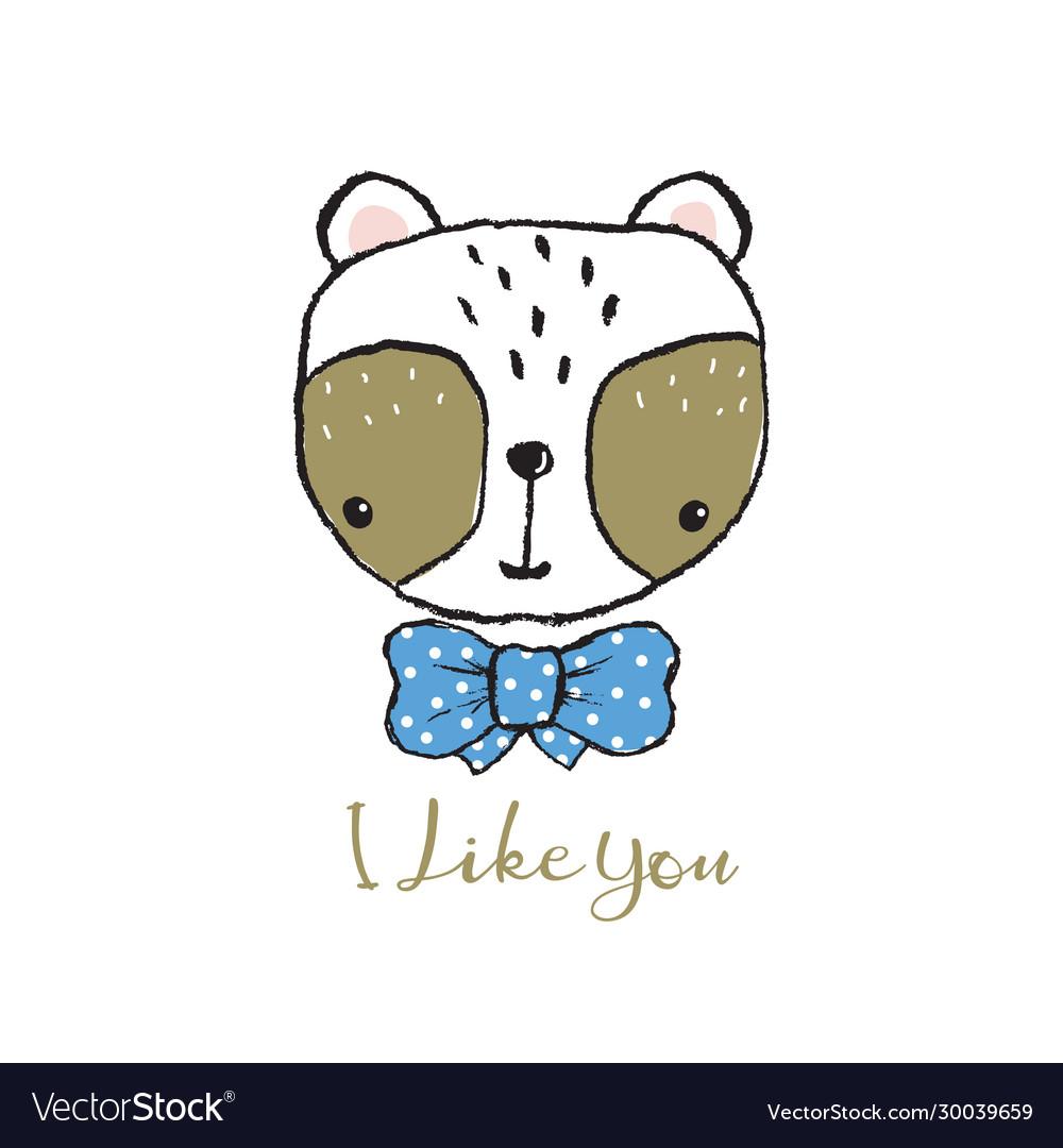 Cute panda portrait hand drawn lettering