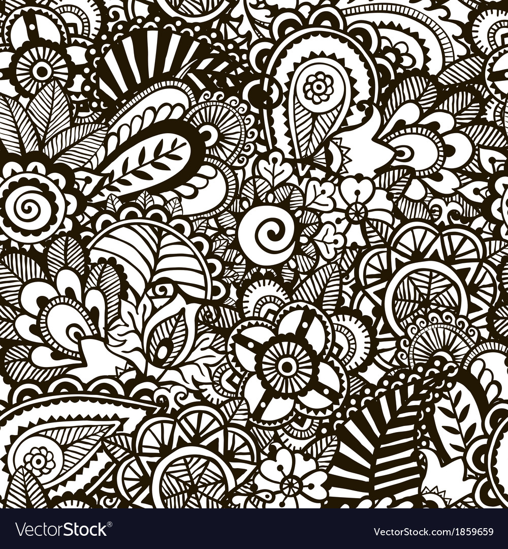 Doodle monochrome print Seamless background