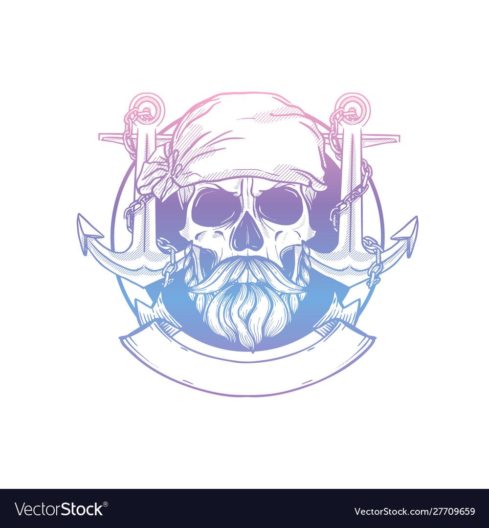 Hand drawn sketch pirate skull