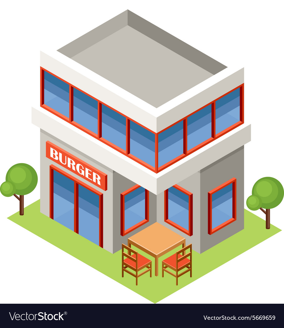 Isometric burger house vector image