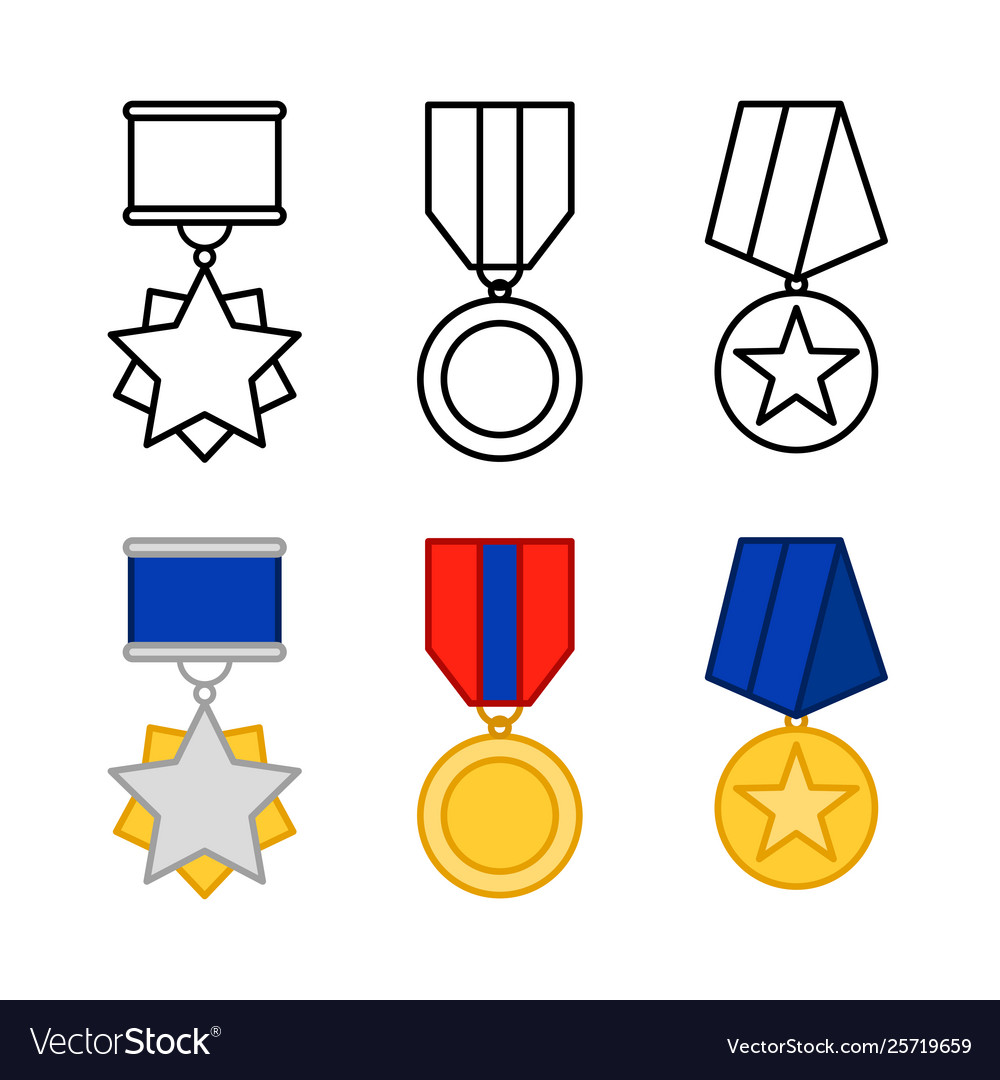Medals set awards isolated on white