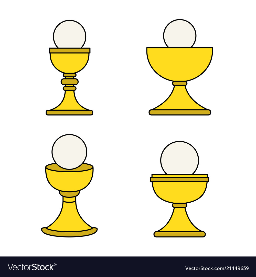 Outline christian chalice icon set