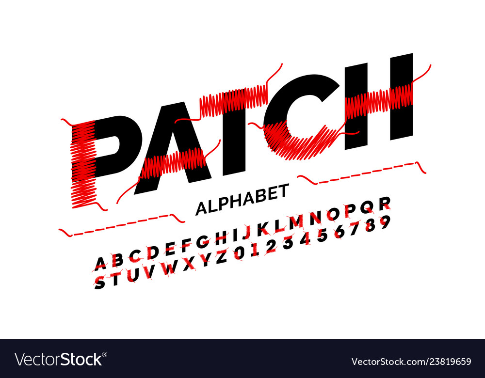 Patched font design stitched with thread