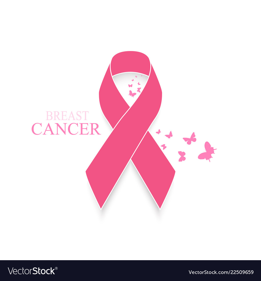 Pink ribbon breast cancer awareness with