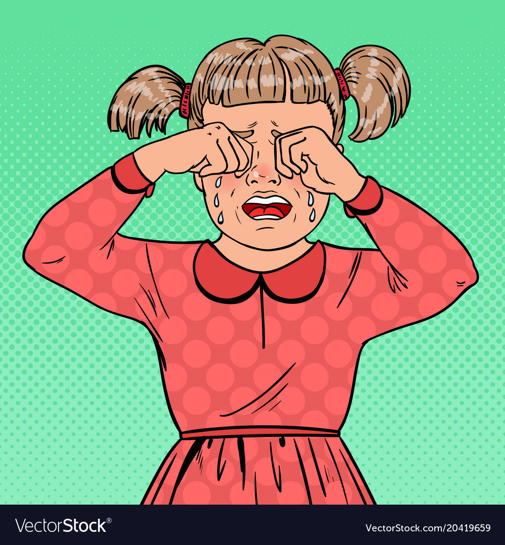 Pop art unhappy little girl crying with tears