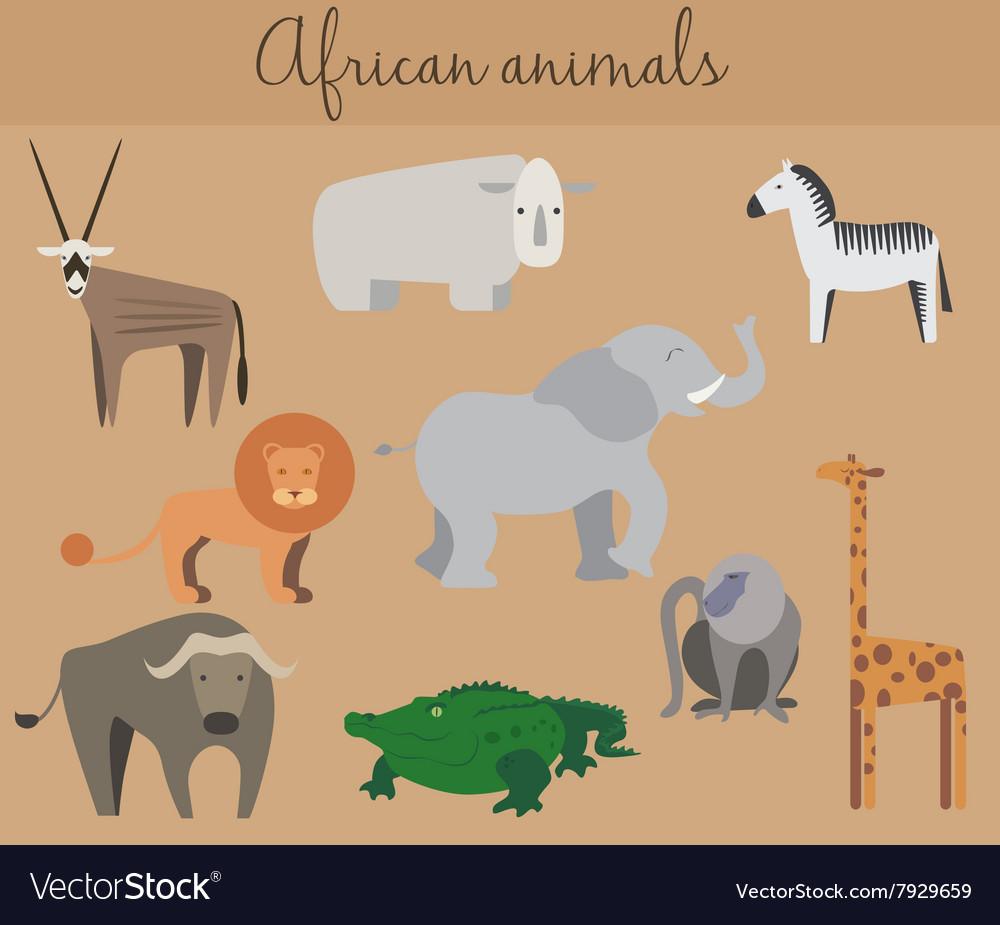 Set of cute cartoon african animals