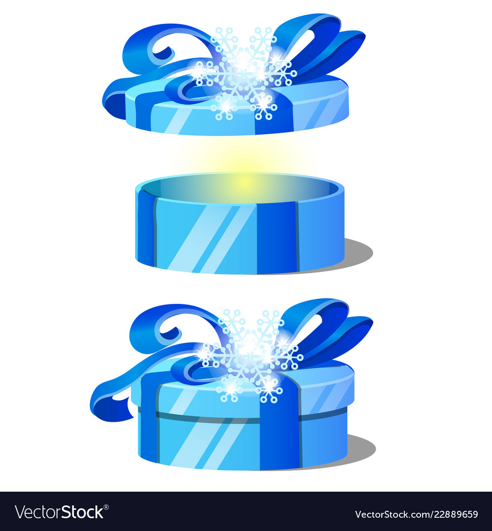 Set of ornate gift boxes with blue lids decorated