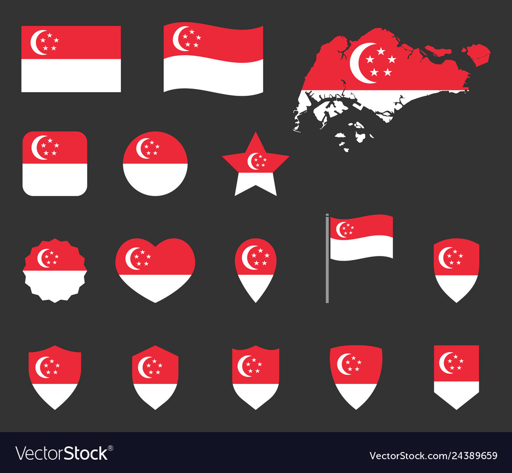 Singapore flag icons set republic of singapore