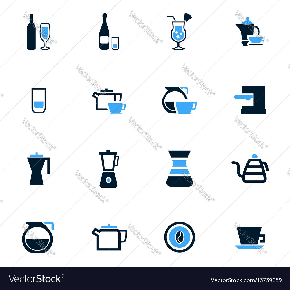 Utensils for beverages icons set