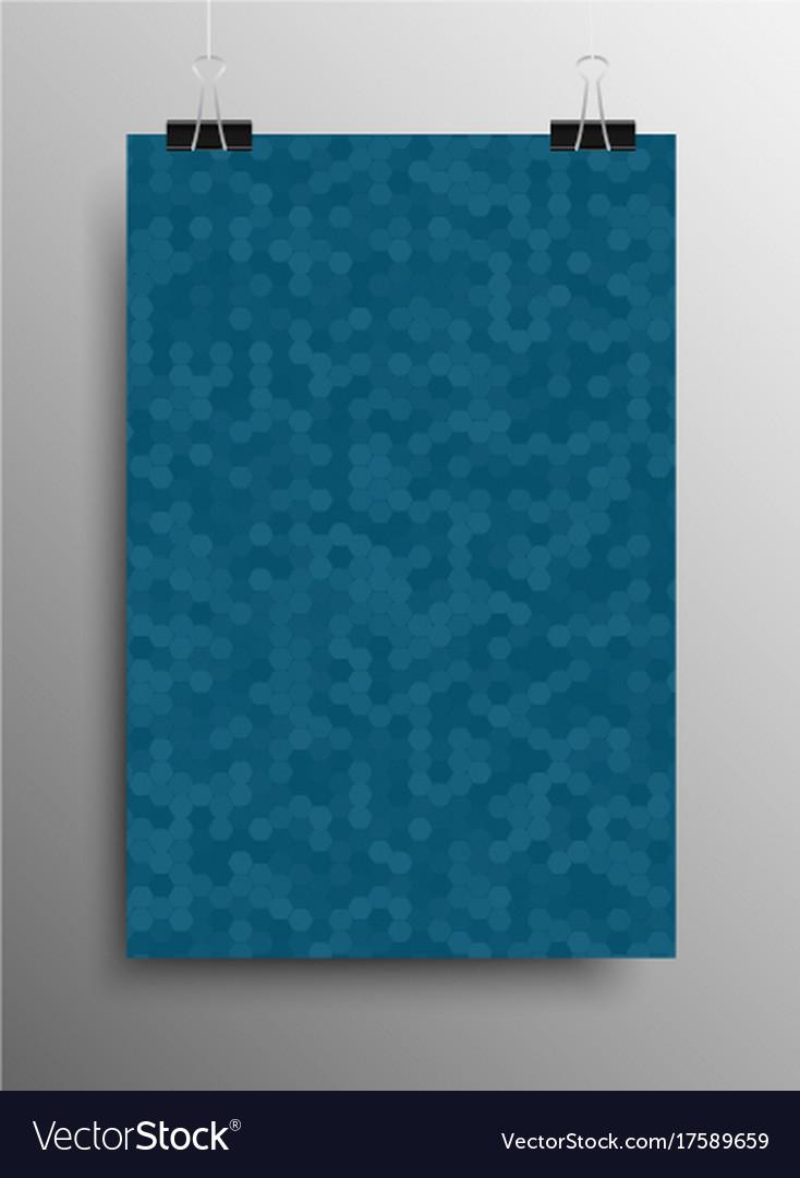 Vertical poster tile honey comb blue background