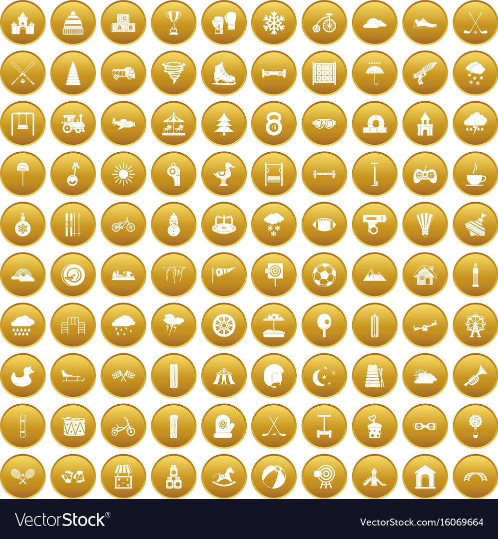 100 kids games icons set gold