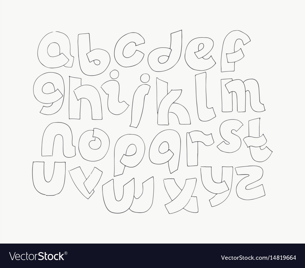 2d hand drawn alphabet letters from a to z in