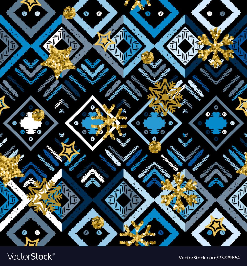 A gold snowflake pattern zigzag christmas chevron