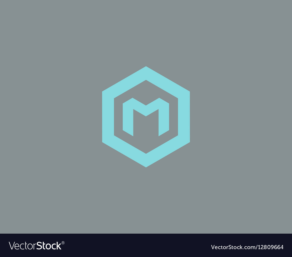 Abstract letter M logotype Line hexagon