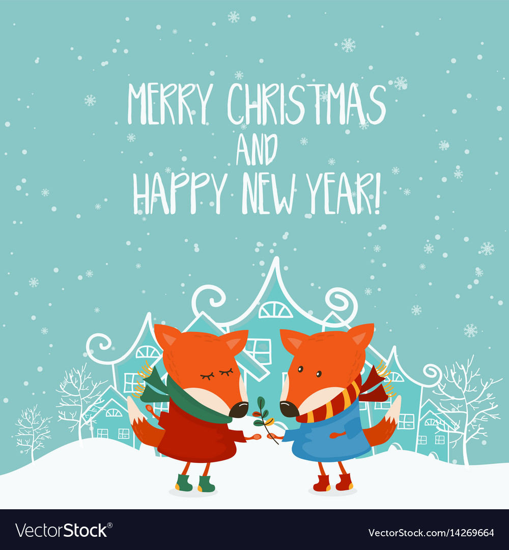 Cartoon for holiday theme with fox on winter vector image