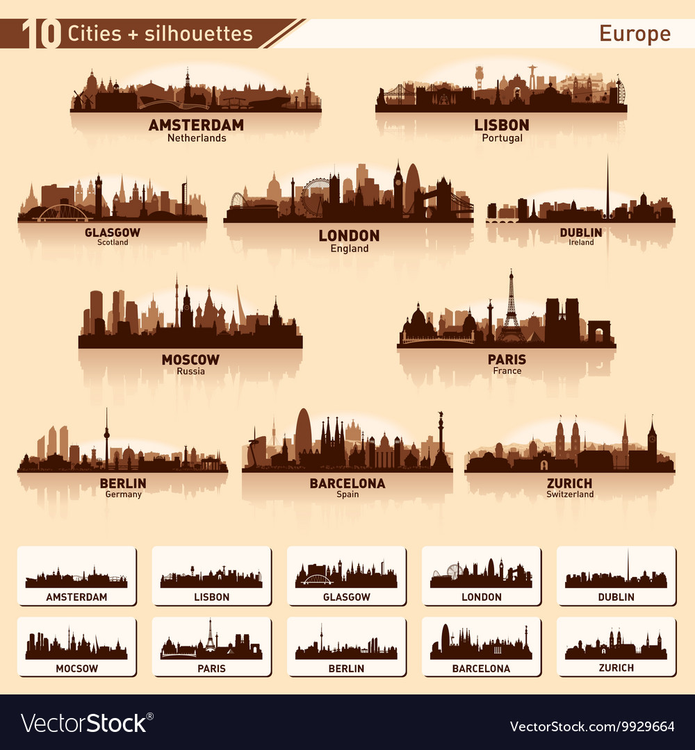 City skyline set Europe silhouettes vector image
