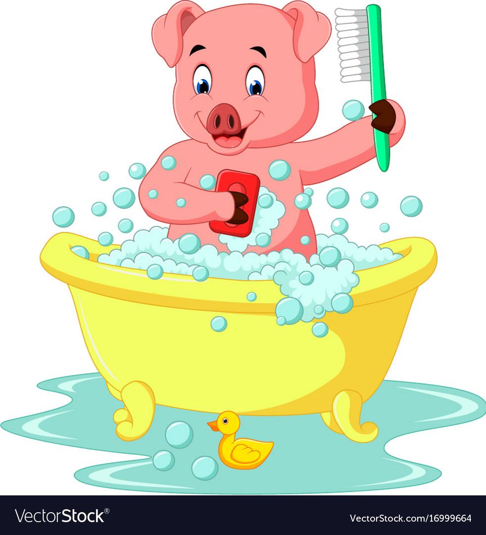 Cute pig bathing time vector image