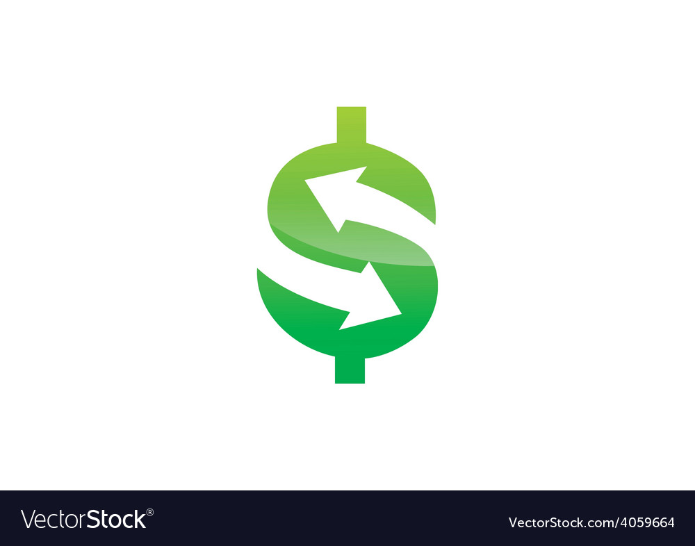 Dollar Sign Arrow Trade Business Logo Vector Image