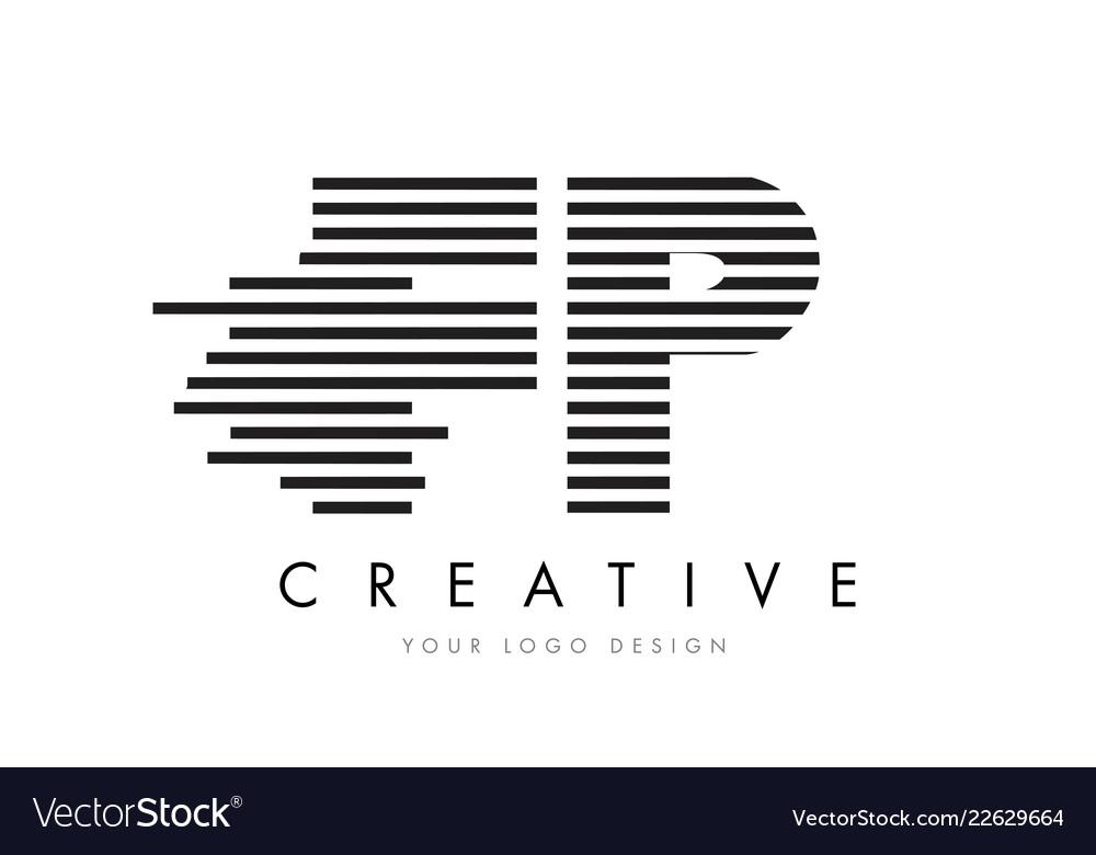 Fp F P Zebra Letter Logo Design With Black And Vector Image