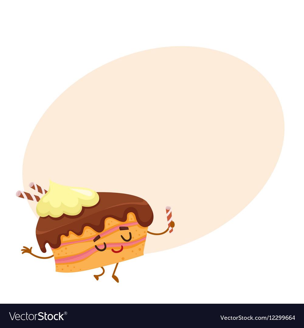 Funny sponge cake character with chocolate cream