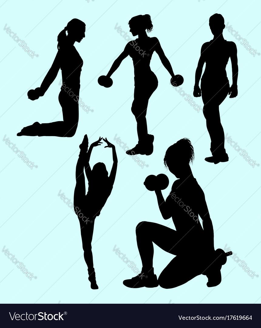 Girl fitness sport activity silhouette