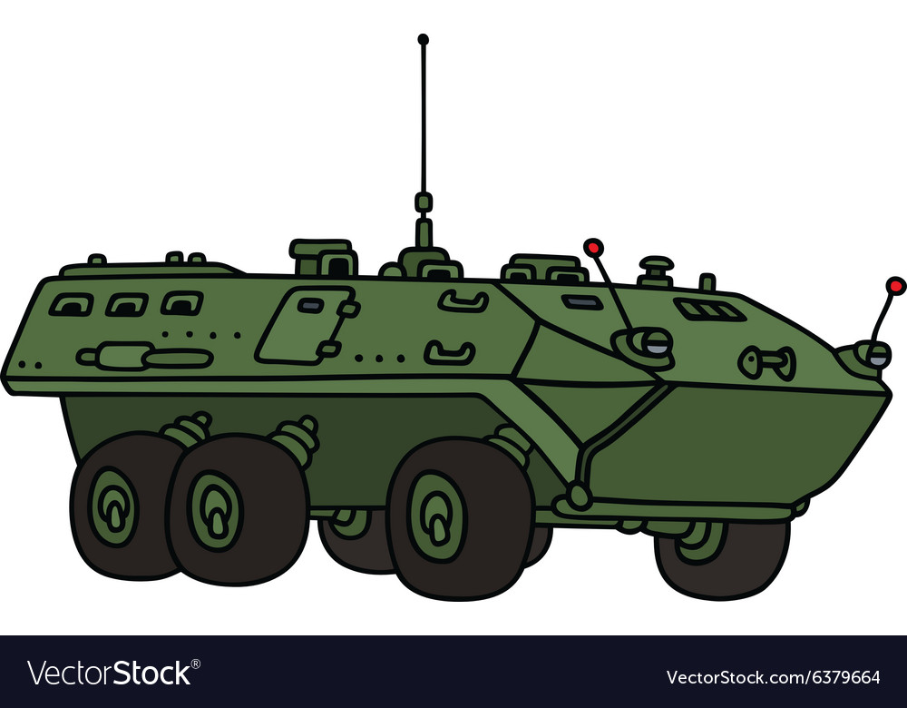 Green wheeled troop carrier vector image