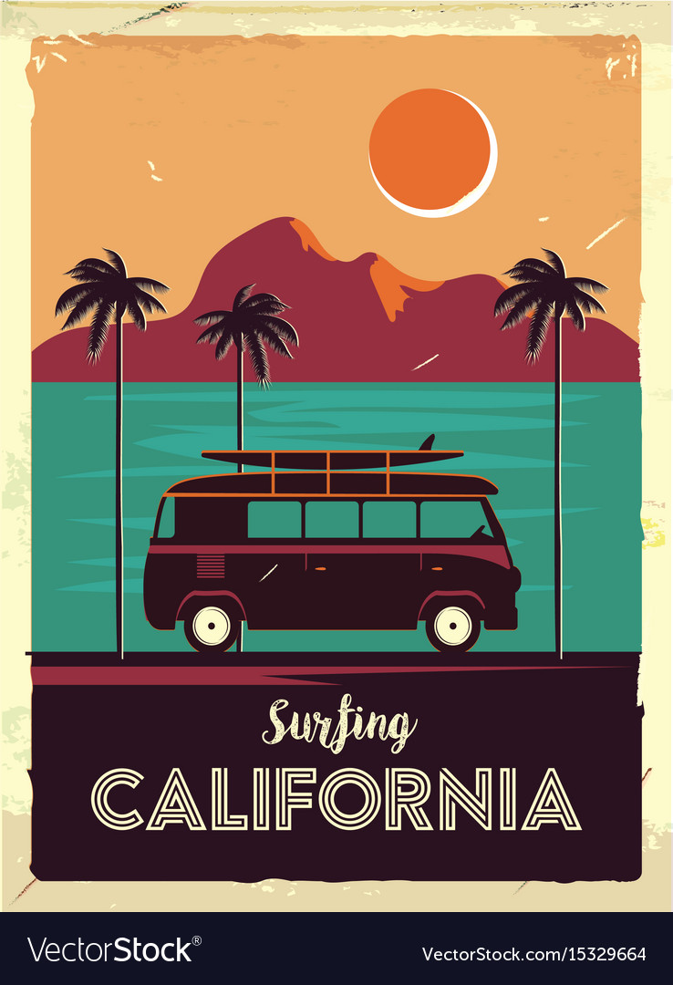 Grunge retro metal sign with palm trees and van