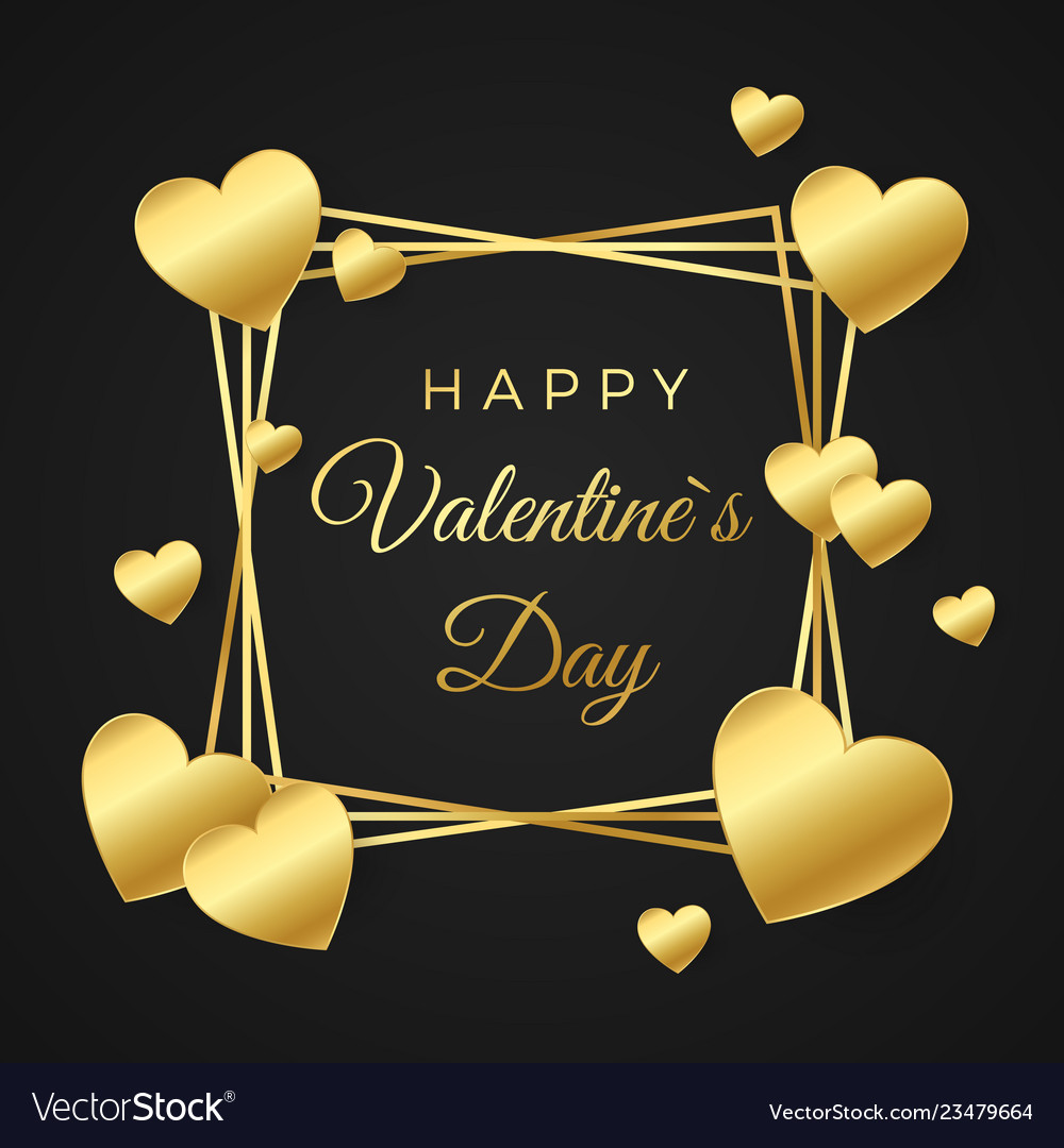 Happy valentines day greeting card gold heart and