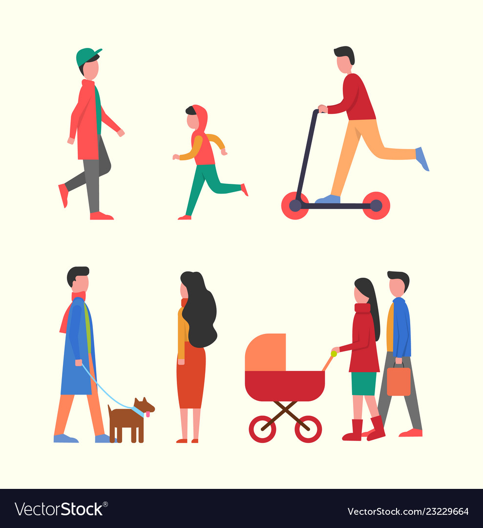 People walking together with pram family strolls