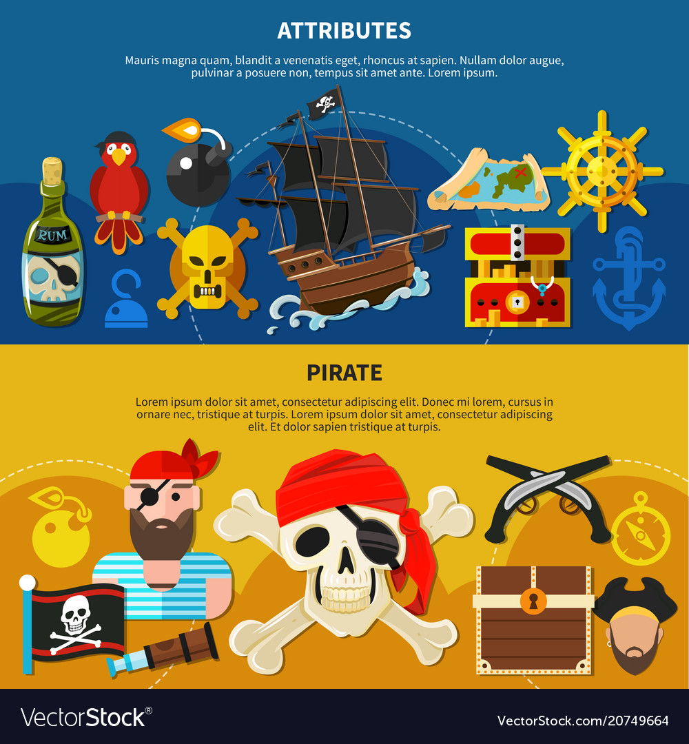 Pirate cartoon banner set