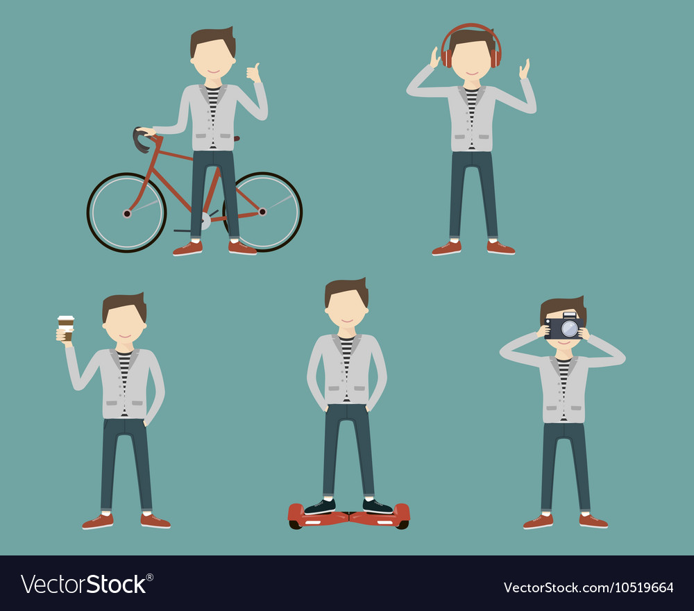 Set Man Lifestyle vector image