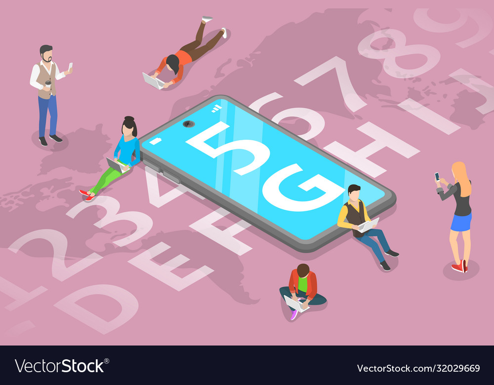 3d isometric flat concept 5g global vector