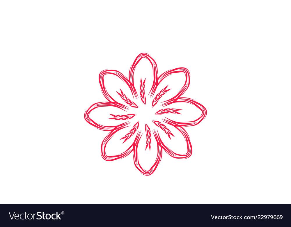 Abstract mono line flower logo designs